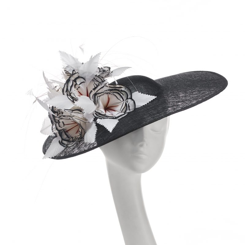 acf89375 SS3050 Lady Amhurst feather flower wide brimmed Ascot statement picture hat  £480