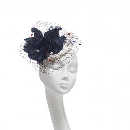 Nerida Fraiman - Giant poppy multicolour spot veil straw beret