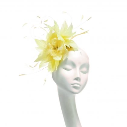 Nerida Fraiman - Primose yellow diamond-cut feather and flower fascinator on comb