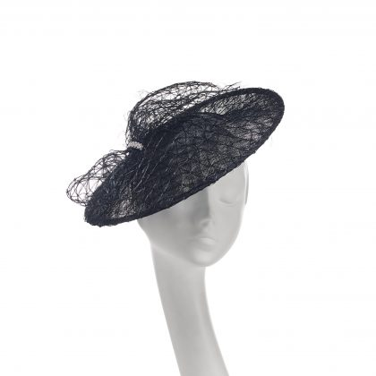 Nerida Fraiman - Siname and lattice straw bow Royal Garden Party disk hat with diamonte clasp