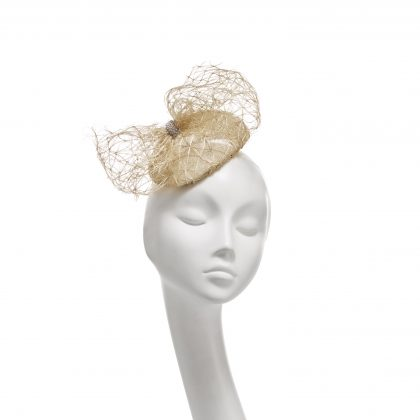 Nerida Fraiman - Siname and lattice straw bow mini beret with diamonte clasp