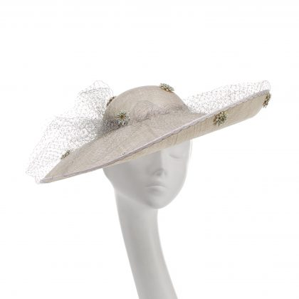 Nerida Fraiman - Veiled sweeping Ascot statement picture hat with hand sewn daisy jewels