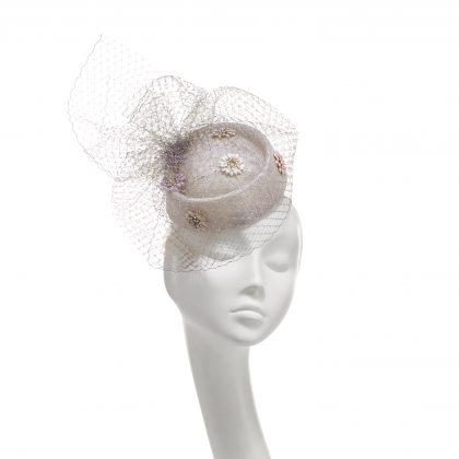 Nerida Fraiman - Classic veiled pillbox with hand sewn multicolour daisy jewels