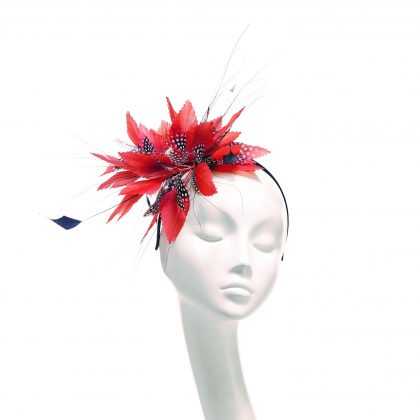 Nerida Fraiman - Pinked feather spray mini dot headband in coral and chocolate