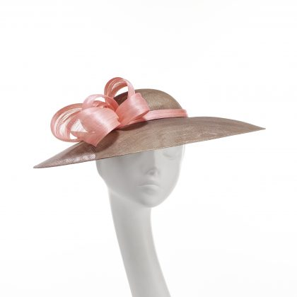 Nerida Fraiman - Audrey taupe down brim picture hat with baby pink silk abaca ribbon swirls