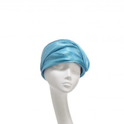 Nerida Fraiman - Turquoise silk abaca twist cruise turban with button detail