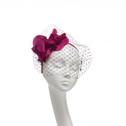 Nerida Fraiman - Giant fuchsia poppy veiled grosgrain headband