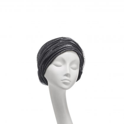 Nerida Fraiman - Layered spot tulle gathered Aisha dress turban in silver grey and black