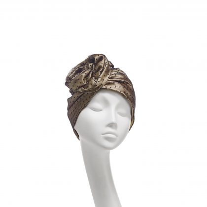 Nerida Fraiman - Layered spot tulle Rose dress turban in lustrous gold and black