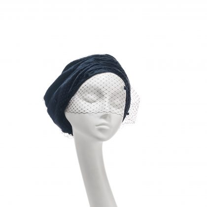 Nerida Fraiman - Duchesse satin unstructured gathered Garbo beret in ink with spot veil