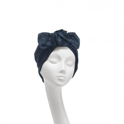 Nerida Fraiman - Duchesse satin twist bow Ava turban in ink