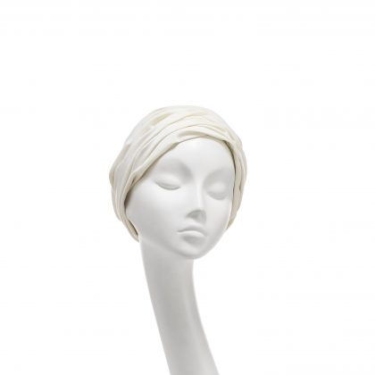 Nerida Fraiman - Ivory cotton jersey Aisha summer cruise turban