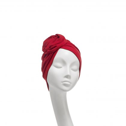 Nerida Fraiman - Scarlet cotton jersey Rose cruise turban