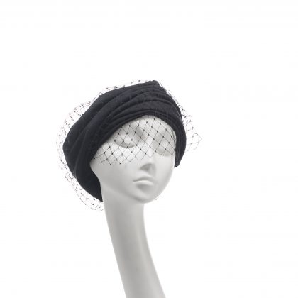 Nerida Fraiman - Charcoal cotton jersey unstructured gathered Garbo beret with chunky diamond veil
