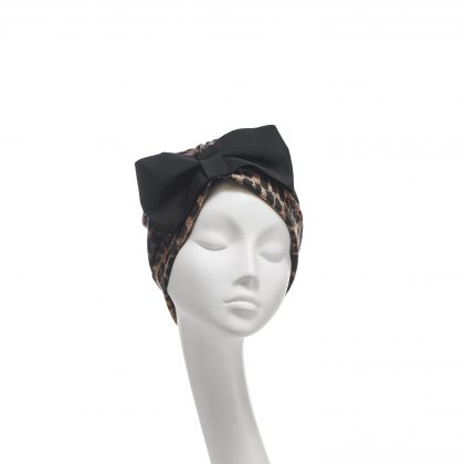 Nerida Fraiman - Leopard spot jersey classic Hayworth turban with vintage French grosgrain bow