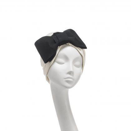 Nerida Fraiman - Ivory cotton jersey classic Hayworth turban with vintage French grosgrain bow