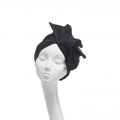 Nerida Fraiman - Lustrous black cotton folded wave Loren turban