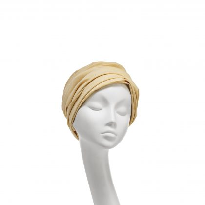 Nerida Fraiman - Superfine Chambray yellow/white cotton gathered Aisha turban