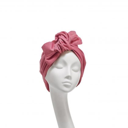 Nerida Fraiman - Superfine Chambray red/white cotton twist bow Ava turban