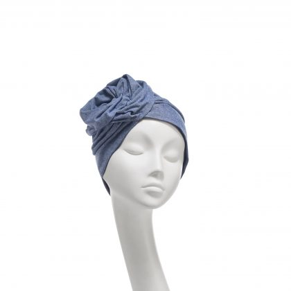 Nerida Fraiman - Superfine Chambray navy/white cotton Rose cruise turban