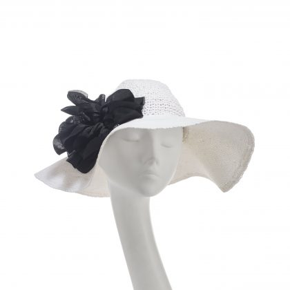 Nerida Fraiman - Giant poppy Boho floppy sun hat in crochet and woven paper straw