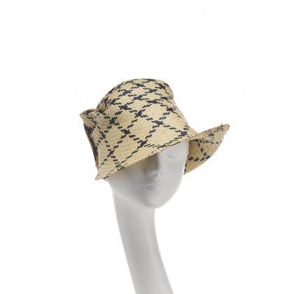 Nerida Fraiman - Pixellated plaid paper straw scrunch cloche hat