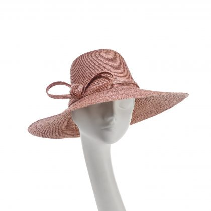 Nerida Fraiman - Dusky pink pedal straw sunhat with fine twist bow band