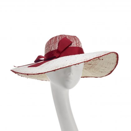 Nerida Fraiman - Bangkok weave straw pale ruby and cream sunhat with grosgrain ribbon
