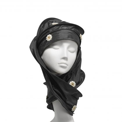 Nerida Fraiman - Multiway wrap hijab in silk Dupion with hand sewn daisy jewels