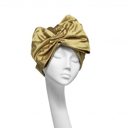 Nerida Fraiman - Shot silk Dupion giant gathered statement bow turban