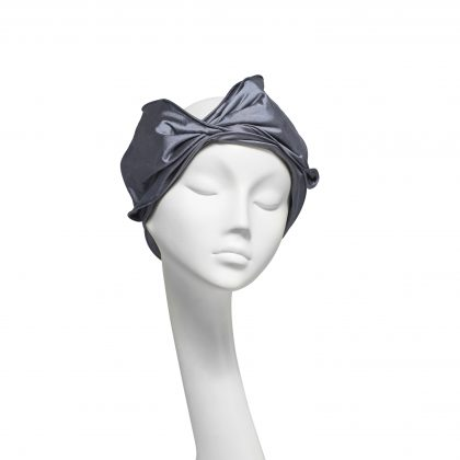 Nerida Fraiman - Twisted Bow headwrap in blue-grey shot silk Dupion