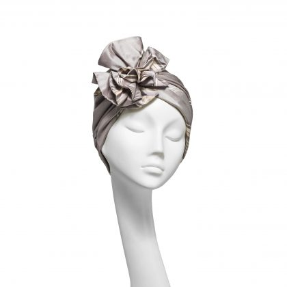 Nerida Fraiman - Silver soft stripe silk Dupion luxury evening mini-Dietrich ruffle turban