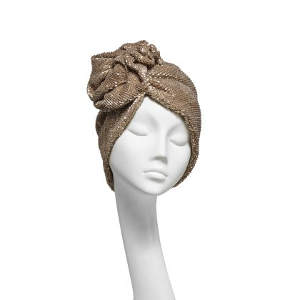 Nerida Fraiman - Antique gold pleated sequin stretch ruffle Dietrich evening turban