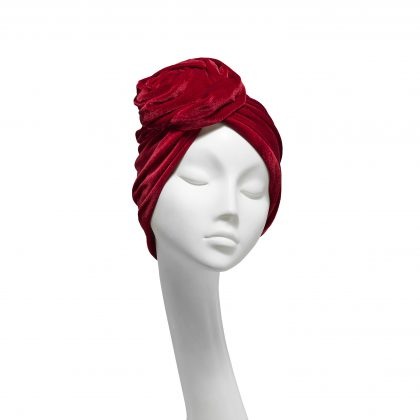 Nerida Fraiman - Ruby red stretch velvet luxury Rose turban