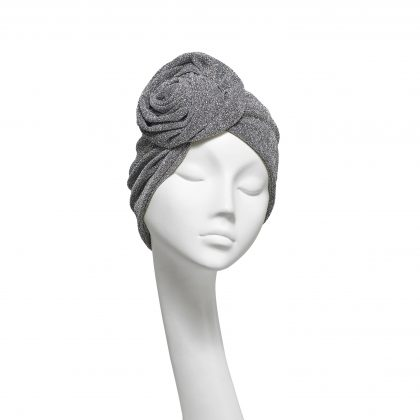 Nerida Fraiman - Silver stretch lurex luxury Rose evening turban