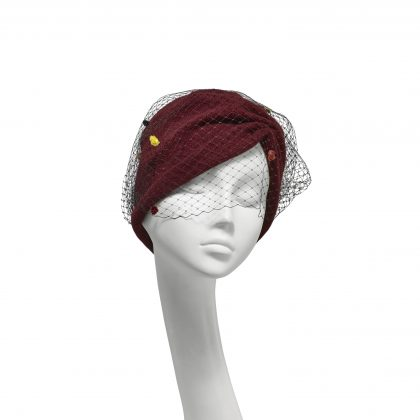 Nerida Fraiman - Claret pure wool gathered beanie with multicolour spot veil
