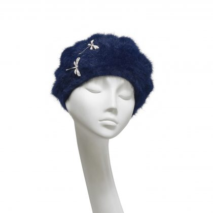 Nerida Fraiman - Super warm lined Angora beret in French navy with diamonte dragonfly brooch detail