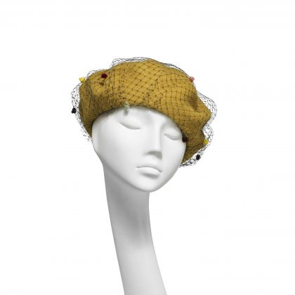 Nerida Fraiman - Double layer pure wool beret in mustard and spot veil