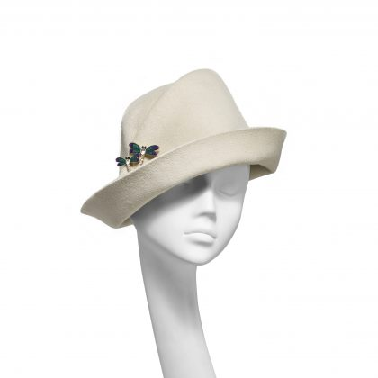 Nerida Fraiman - Luxury fur-felt upbrim tuck cloche in stone with jewelled double dragonfly brooch
