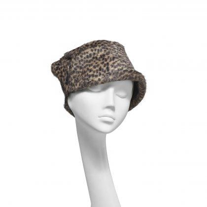 Nerida Fraiman - Luxury fur-felt animal print scrunch cloche