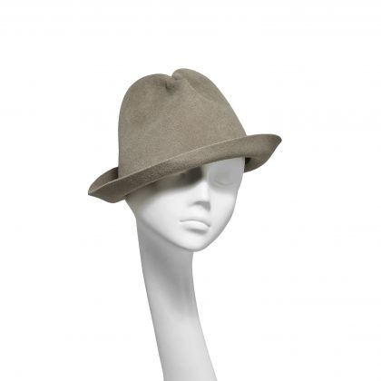 Nerida Fraiman - Unstructured luxury fur-felt upbrim trilby in taupe