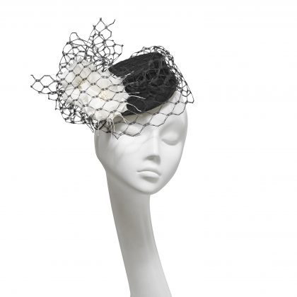 Nerida Fraiman - Monochrome Cigarette Girl wool felt pillbox with waffle veil and hand cut feather flowers