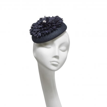 Nerida Fraiman - Hand sewn chrysanthemum on navy wool felt structured beret with diamonte detail