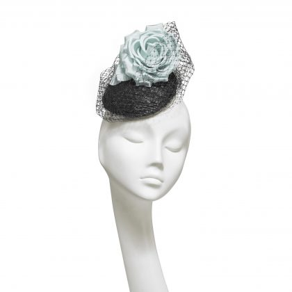 Nerida Fraiman - Carmen black sequin mini beret with classic millinery veiling and soft aqua rose