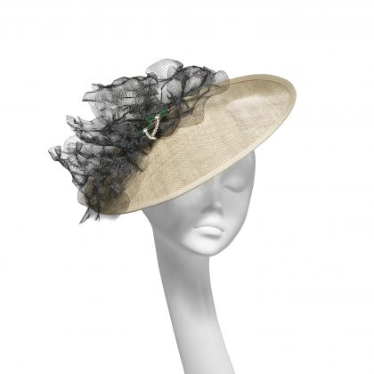 Nerida Fraiman - Blocked siname straw medium disk hat with ruffle mesh bow and double dragonfly detail