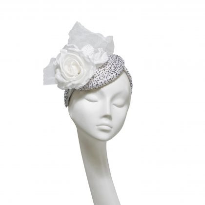 Nerida Fraiman - Monochrome party beret with black miniature sequins, white rose and netting