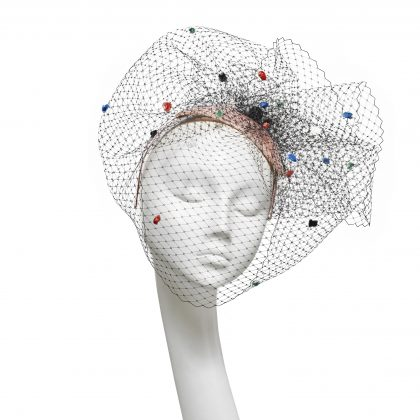 Nerida Fraiman - Siname straw teardrop cocktail hat with multicolour spot veiling and Shambala bead detail
