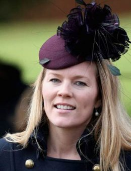 Nerida Fraiman - Autumn Phillips in claret diamond-cut feather beret at Sandringham