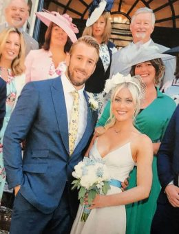 Nerida Fraiman - Camilla Kerslake in bridal veil headband at her marriage to Chris Robshaw 2018