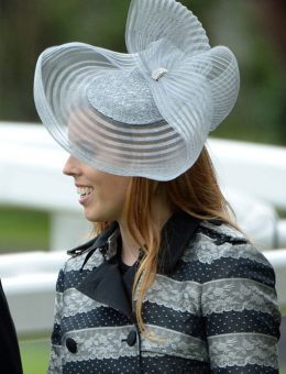 Nerida Fraiman - HRH Princess Beatrice in silver pleated twist hat, Royal Ascot